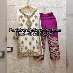 Buy trouser suits online from Punjaban Designer Boutique in India, USA, UK, Canada and Australia. Latest collection of trouser salwar suits for women.