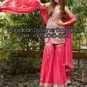 Buy Sharara Suits / Kameez online from Punjaban Designer Boutique . We have Pakistani designer Sharara dresses for party, wedding, reception and all functions.
